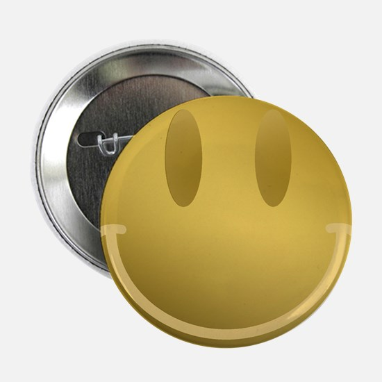 """GOLD Smiley Gold Outline 2.25"""" Button"""