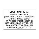 Texas Agritourism Liability Car Magnet 20 x 12