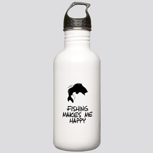 Fishing Makes Me Happy Water Bottle