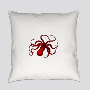red vintage octopus Everyday Pillow