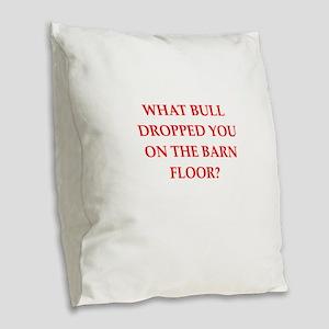 barn Burlap Throw Pillow