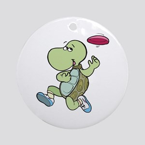 Turtle Playing Frisbee Ornament (Round)