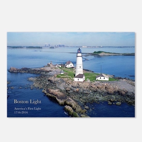 Cute Boston harbor lighthouse Postcards (Package of 8)