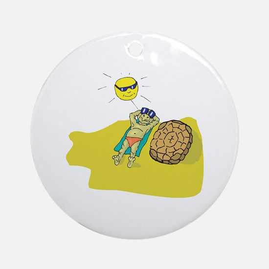 Silly Suntanning Turtle Ornament (Round)