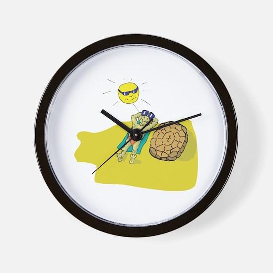 Silly Suntanning Turtle Wall Clock