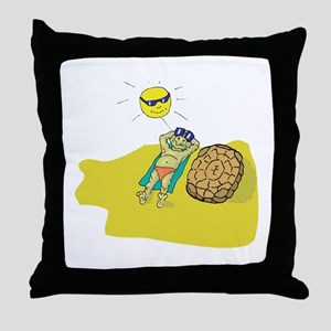 Silly Suntanning Turtle Throw Pillow