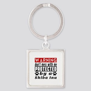 Protected By Shiba Inu Square Keychain
