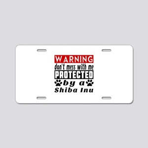 Protected By Shiba Inu Aluminum License Plate