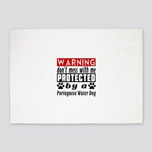 Protected By Portuguese Water Dog 5'x7'Area Rug