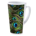 Peacock Feathers 17 Oz Latte Mug