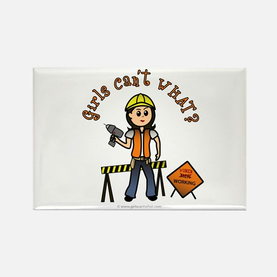 Light Construction Worker Rectangle Magnet