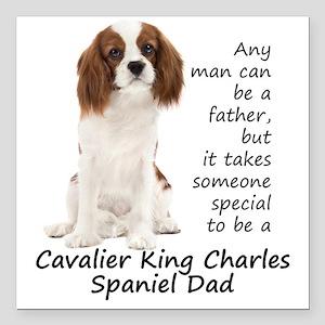 """Spaniel Dad Square Car Magnet 3"""" x 3"""""""
