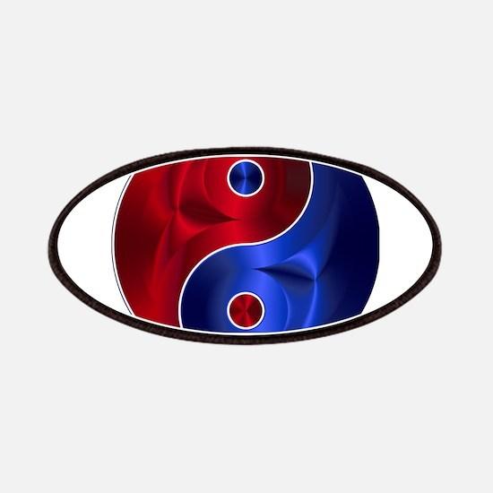 Metallic Red & Blue Yin & Yang Patch