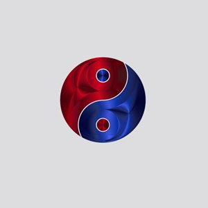Metallic Red & Blue Yin & Yang Mini Button