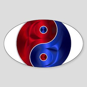 Metallic Red & Blue Yin & Yang Sticker