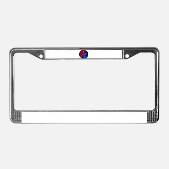 Metallic Red & Blue Yin & Yang License Plate Frame