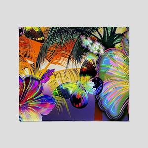 Tropical Butterflies Throw Blanket
