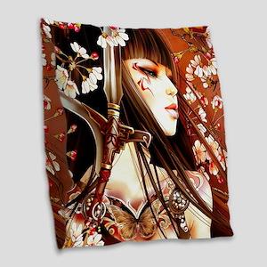 Geisha Burlap Throw Pillow