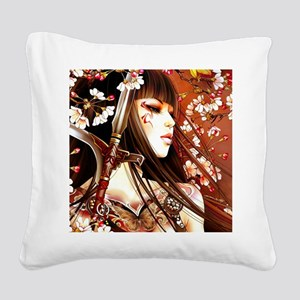 Geisha Square Canvas Pillow