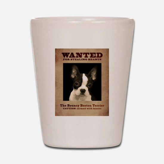 WANTED: The Bouncy Boston Terrier Shot Glass