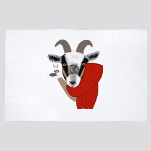 Cute Goat Drinking Hot Chocolate 4' x 6' Rug