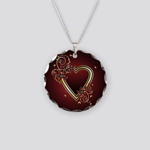 Classic Heart Necklace Circle Charm