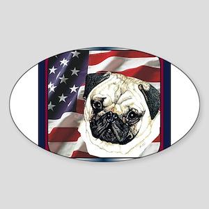 Pug Dog Patriotic USA Flag Oval Sticker