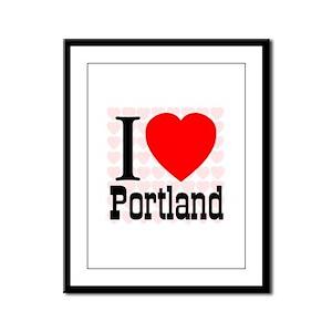 I Love Portland Framed Panel Print