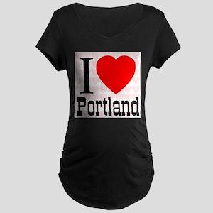 I Love Portland Maternity Dark T-Shirt
