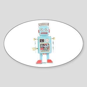 Classic Tin Robot Oval Sticker