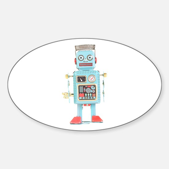 Classic Tin Robot Oval Decal