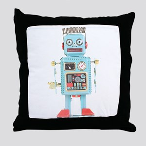 Classic Tin Robot Throw Pillow