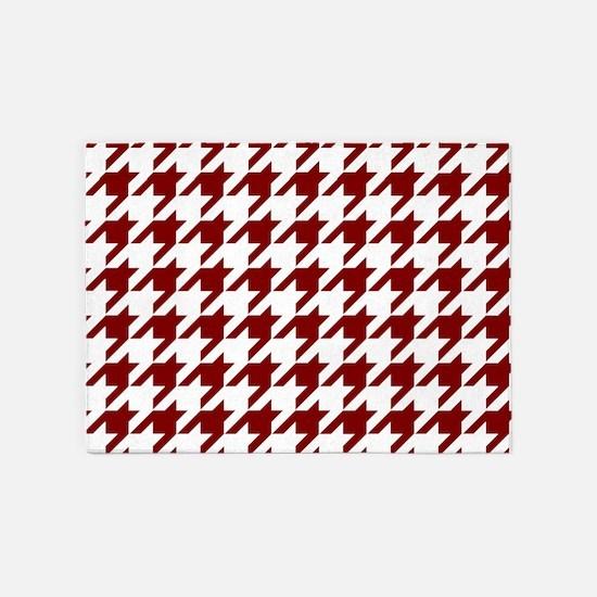 Houndstooth Checkered: Maroon (Dark 5'x7'Area Rug
