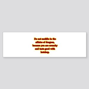 Dragon Warning Bumper Sticker