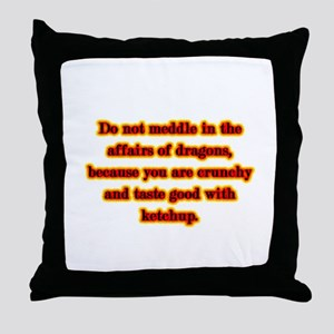Dragon Warning Throw Pillow
