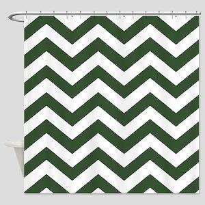 Green, Pine: Chevron Pattern Shower Curtain