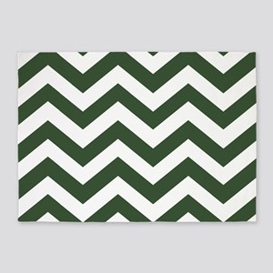 Green, Pine: Chevron Pattern 5'x7'Area Rug