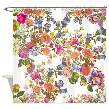 vintage floral shower curtain. cute floral botanical shower curtain vintage