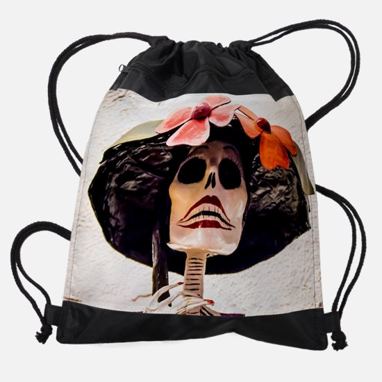 Day of the Dead Large Skeleton Lady Drawstring Bag