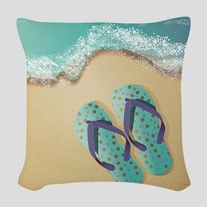 Flip Flops Woven Throw Pillow