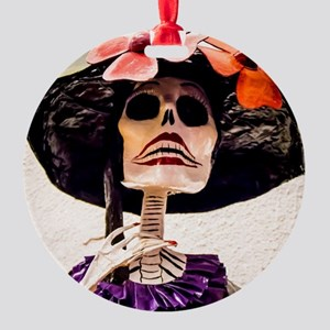 Day of the Dead Large Skeleton Lady Round Ornament
