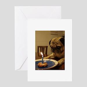 Happy Birthday Pug Greeting Cards