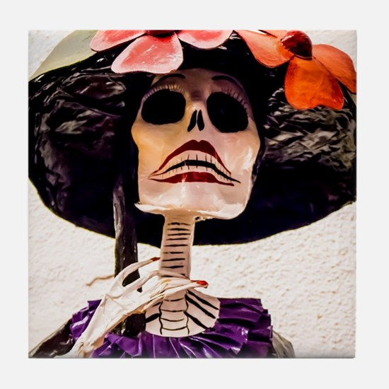Day of the Dead Large Skeleton Lady w Tile Coaster