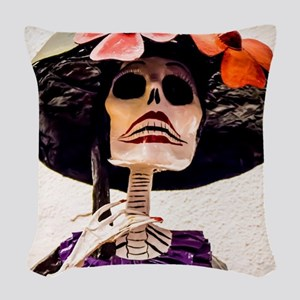 Day of the Dead Large Skeleton Woven Throw Pillow