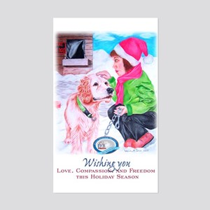 Girl Unchains Dog - Holiday Rectangle Sticker