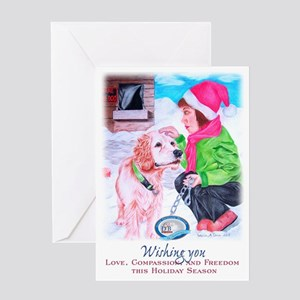 Girl Unchains Dog - Holiday Greeting Card