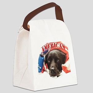 Patriotic Puppy Canvas Lunch Bag