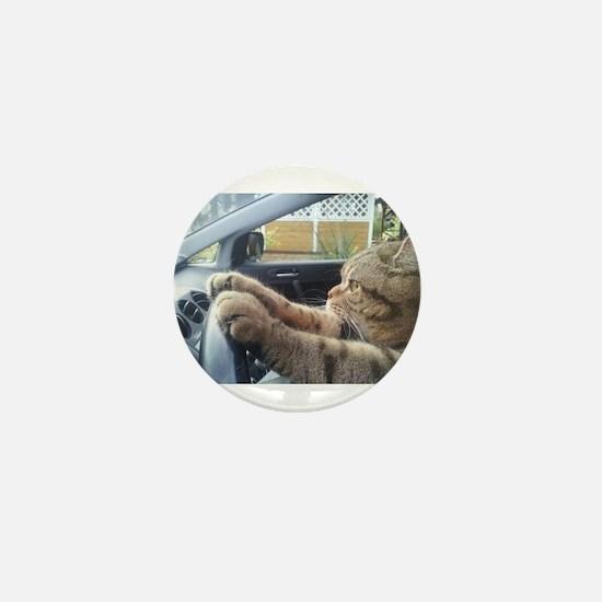 Driving Cat Mini Button
