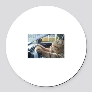 Driving Cat Round Car Magnet