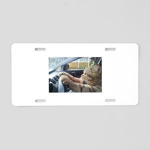 Driving Cat Aluminum License Plate